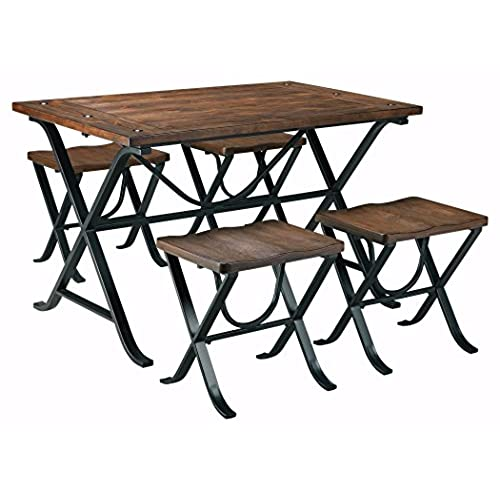 Ashley Furniture Signature Design - Freimore Dining Room Table and Stools - Set of 5 - Medium Brown Wood Top and Black Metal Legs  sc 1 st  Amazon.com & Ashley Furniture Kitchen Tables: Amazon.com