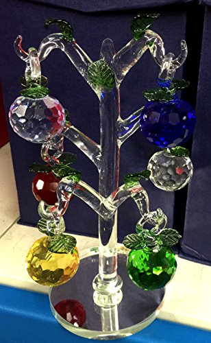 Crystal Glass Prism Apple Tree with Colorful Crystal Hanging Apples ()