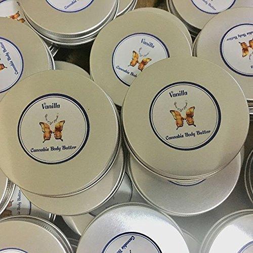 2oz. Vanilla Handmade Cannabis Body Butter, Natural Body Butter, Melt like Butter on Contact with Warm Hands, Deep Moisturizing and Healing, Hemp, Vegan
