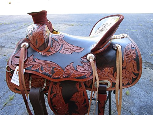15 16 WADE ROPING RANCH ROPER RODEO WESTERN COWBOY COWGIRL TRAIL PLEASURE FLORAL TOOLED LEATHER HORSE SADDLE DARK BROWN TAN HARD SEAT (15)