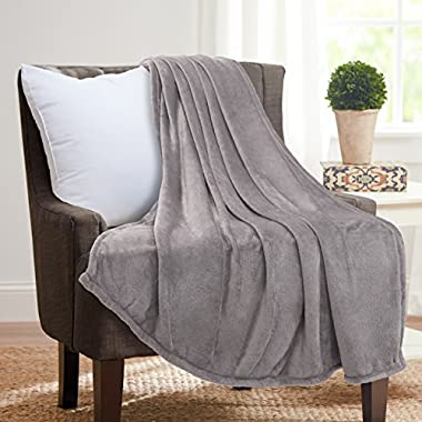 Flannel Throw Blankets, Bed Blanket by Bedsure-100% Plush Microfiber(Warm/Cozy/Fluffy), Lightweight and Easy Care, Couch Blanket, Twin Full/Queen King(50 x60  Grey)
