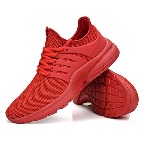 Outdoor Gym Women's Athletic Red Running Slip Casual Shoes Training Sneakers On Walking Lightweight Mesh Feetmat AHavBwvq