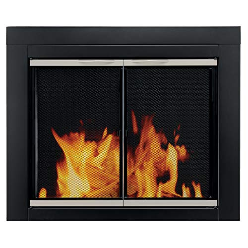 - Pleasant Hearth Alsip Sunlight Nickle Fireplace Glass Doors - Small