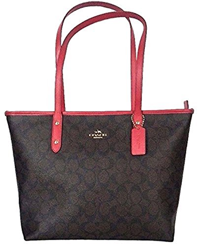 Coach Signature Zip Tote Tote Bag Handbag Purse - Brown / Red by Coach (Image #1)