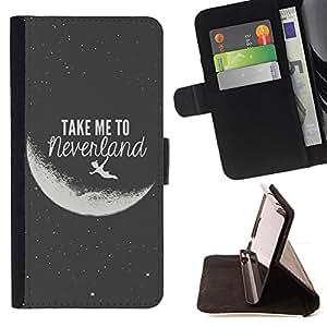"""Bright-Giant (Lléveme a Luna Neverland Negro Blanco"""") Modelo Colorido Cuero Carpeta Tirón Caso Cubierta Piel Holster Funda Protección Para Apple (4.7 inches!!!) iPhone 6 / 6S"""