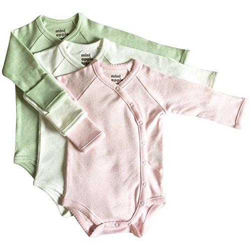 Girls Apple Tree - Mini Apple Tree Organic Kimono Bodysuit 3-Pack (Pink, Cream, Sage) 3-6 Months