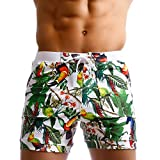 Taddlee Men Swimwear Swimsuits Flower Print Surf Board Boxer Shorts Trunks Long (M)