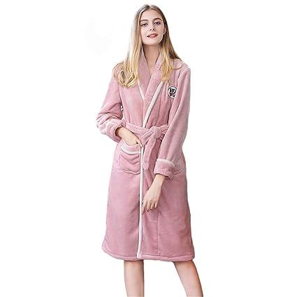 Tina Mujeres Sexy Bata Larga Vestido Sólido Suave Camisón Ropa de Dormir Kimono de Invierno Bata