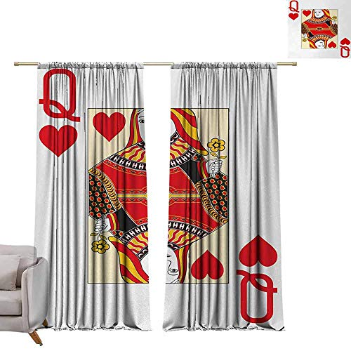 Drapes for Living Room Queen,Queen of Hearts Playing Card Casino Design Gambling Game Poker Blackjack,Vermilion Yellow White W72 x L84 Tie Up Printed Blackout Curtain