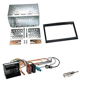 Autoradio Einbauset 2-DIN Citroen Berlingo ab 08 Kabel Einbaurahmen schwarz