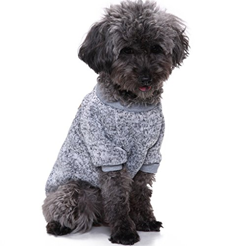 Xxs Pet Clothing - CHBORLESS Pet Dog Classic Knitwear Sweater Warm Winter Puppy Pet Coat Soft Sweater Clothing for Small Dogs (XXS, Grey)