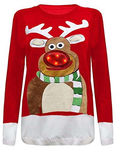Crazy Girls Womens 3D Nose Christmas Tree Jumper LED Flashing Lights Knitted Top (12/14, Red - 3D Nose Rudolph) (Flashing Jumper Christmas)