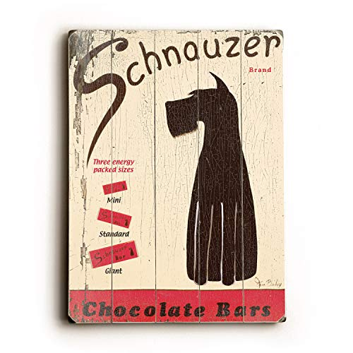 One Bella Casa Schnauzer Chocolate Bars - Wood Wall Decor by Ken Bailey 14 X 20