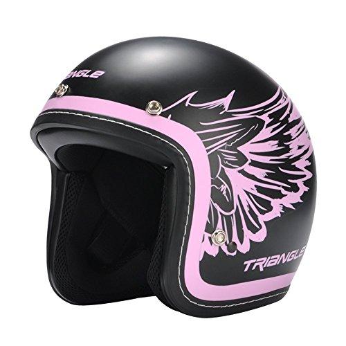 Triangle 3/4 Harley Retro Scooter helmet Open Face Cruiser [DOT] Pink (Medium)