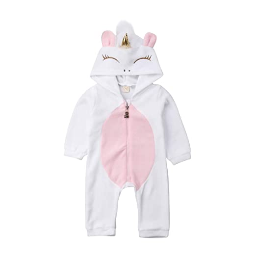829907c2f Baby Girl Unicorn Romper Clothes Hoodies Long Sleeve Flannel Romper  Jumpsuit Zipper Warm Sleeper Pajamas Outfit