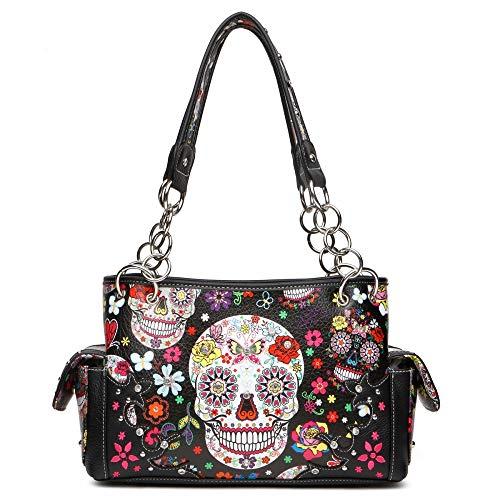 Sugar Skull Satchel Handbag with Concealed Carry Pocket ()