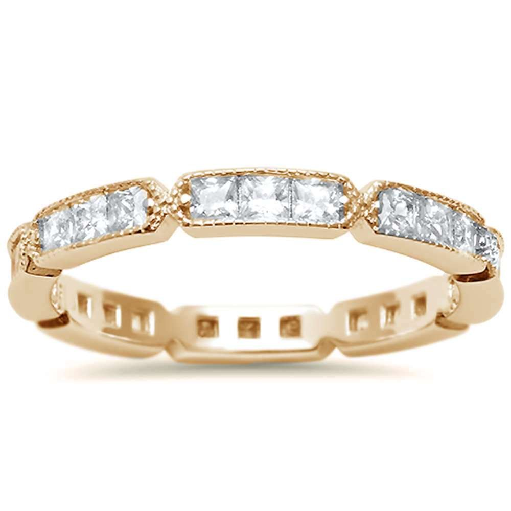 Sterling Silver Yellow Gold Plated Antique Style Eternity Ring Sizes 7