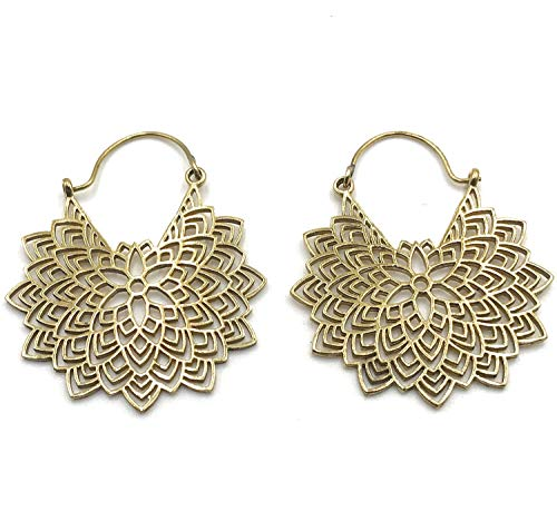 Handmade Statement Filigree Drop Leaf Tribal Ethnic Hoop Earrings for Women, Gold Plated Tone ()