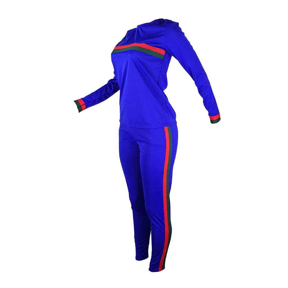 1f560110e58 Amazon.com  Top-Vigor Women 2 Pieces Sports Tracksuits Outfits Long Sleeve  Top and Long Bodycon Pants Sweatsuits Set (Blue 1