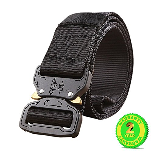 MOLLE Tactical Belt CQB Rigger Waistbelt Rappel Battle Adjustable Military Webbing Band Nylon Outdoor Heavy Duty Metal Buckle Mens EDC Belt (BLACK) Lightweight Utility Belt