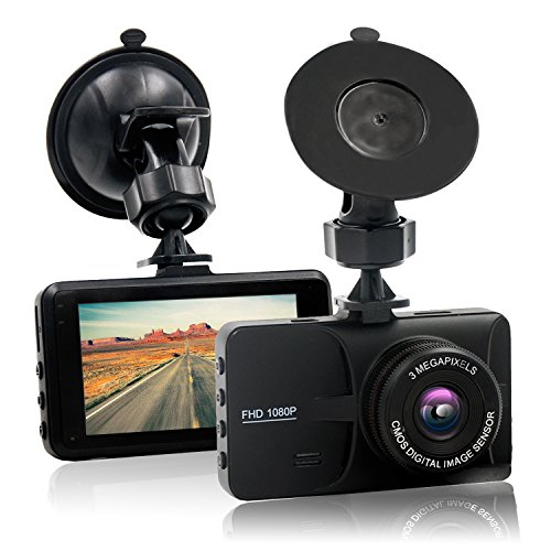 HappyHapi Dash Camera for Cars with Full HD 1080P, 170 Wide Angle Car On Dash Video, 3.0