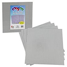 "Brick Building Base Plates By SCS - Large 10""x10"" Grey Baseplates (4 Pack) - Tight Fit with Lego"