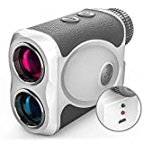 Rechargeable Golf Rangefinder with Slope, 800 Yards USB Charging Laser Range Finder Support Flag Lock Vibration,Continuous Scan,Distance Speed Measurement H-111