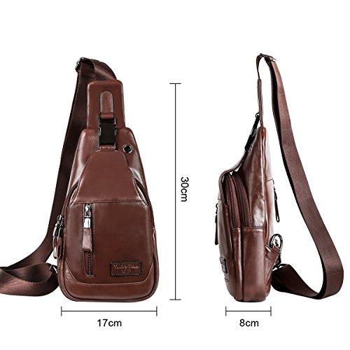 estilo para pecho de de mochila de color retro diario de 4 bolso Leathario marrón marrón bolso sintetica hombre gran oscuro autentico con capacidad piel hombre de cuero HTxPq6WvwA
