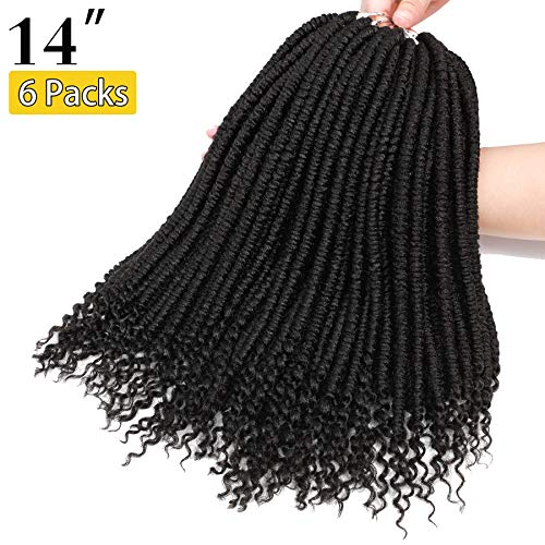14 Inch 6 Packs Spring Twist Hair with Curly Ends Bomb Twist Hair Senegalese Twist Crochet Braids Hair Soft Synthetic Crochet Braids Fluffy Twist Hair Bomb Twist Braiding hair (14 Inch-6 Pac, 1B)