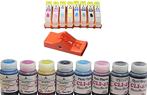 Canon Pixma Pro 100 CLI-42 Refillable Carts with Resetter Inks 8 Colors (4oz/125ml) Photo #1