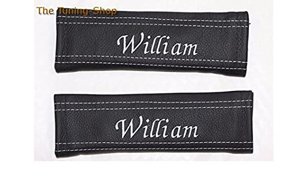 2 Black Leather Seatbelt Pads Embroidered with Custom LOGO and TEXT