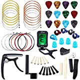 Auihiay 58 PCS Guitar Accessories Kit Including Guitar Strings, Picks, Capo, Thumb Finger Picks, String Winder, Bridge Pins, Pin...