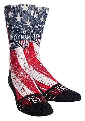 MLS Houston Dynamo Club/Country Custom Athletic Crew Socks, Large/X-Large, Red/Blue