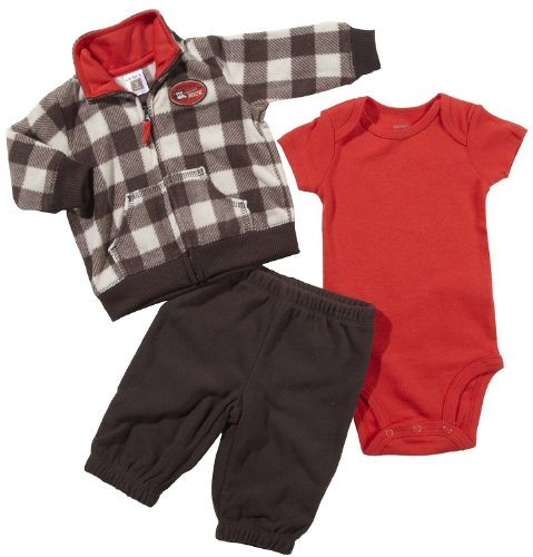 Carter's 3-Piece Quick & Cute Combo - Checkered Brown with - Checkered Badges