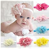 Qs 8 Pieces Baby's Headbands Girl's Chiffon Head Band Hair Flower (8 Pack)