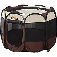"PaWz Dog Playpen Pet Play Pens Foldable Panel Tent Cage Portable Puppy Crate 30"" Brown 30"": 75(L) x75(W) x52(H) cm"