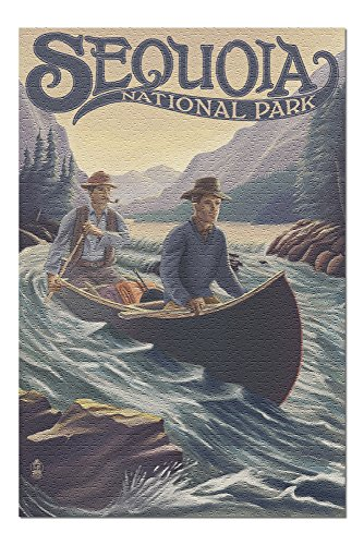 (Sequoia National Park - Canoe in Rapids (20x30 Premium 1000 Piece Jigsaw Puzzle, Made in USA!))