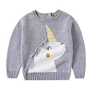 Hopscotch Baby Girls Poly Cotton Full Sleeves Unicorn Print Sweater in Gray Color