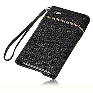ISSEC Zipper Envelope Purse Leather Wallet Design Case Cover For iPhone 4 4S(Black)