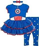 Marvel Captain America Baby Girls' Costume Dress, Leggings and Headband Set (18-24 Months)