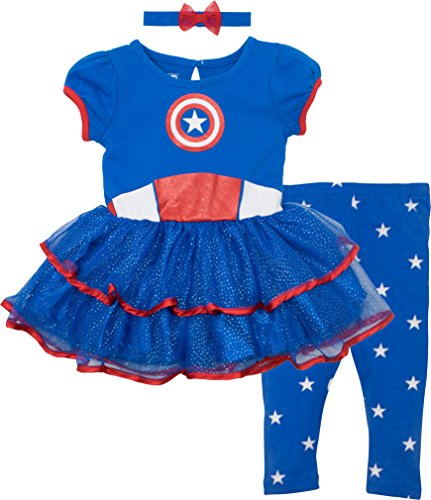 America Baby Costumes Captain (Marvel Captain America Baby Girls' Costume Dress, Leggings and Headband Set (12-18)