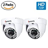 CANAVIS 2 Packs HD CCTV Security Cameras 720P Home Security Day/Night Indoor Dome Camera 1280TVL 36 IR-LEDs 3.6mm Wide Angle Lens