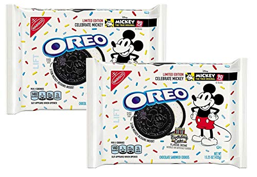 Oreo Cookie Cakes - Limited-edition Mickey Mouse Oreos 15.25 OZ. (BIRTHDAY CAKE FLAVOR CREME) (2 PACK)