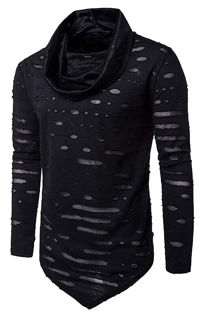 WSPLYSPJY Mens Fashion Turndown Curved Hem Cowl Hip Hop Hipster Slim T-Shirt
