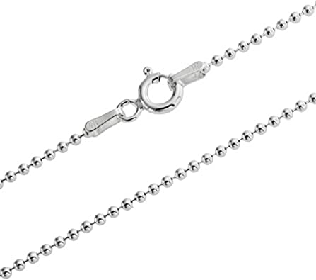 2mm Sterling Silver Bead or Ball Chain Necklace Lengths 14,16,18,20,22,24,26,28,30,36