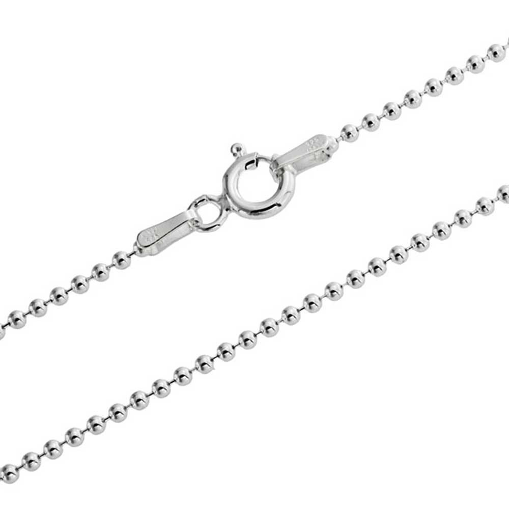 95 60 50 75 55 1mm thick solid sterling silver 925 Italian BALL bead chain necklace chocker bracelet anklet with spring ring clasp jewelry 15 90 20 35 25 70 85 80 65 30 100cm 45 40