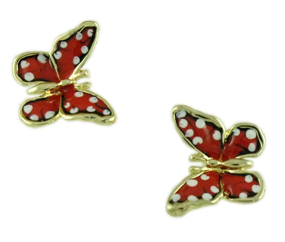 Orange and White Enamel Speckled Butterfly Pierced Earring
