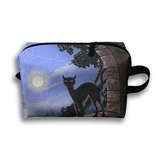 Moon Halloween Black Cat Travel Makeup Bag Fashion 3D Printing Women Multifunction Case (Simple Halloween Makeup Ideas For Women)
