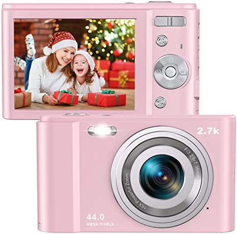 """Digital Camera HD 2.7K 44 MP Vlogging Camera with Webcam, Point & Shoot Digital Camera with 2.88"""" IPS Screen, 16X Digital Zoom, 2 Batteries, Gift for Birthdays,Christmas,Thanksgiving Days - Pink"""