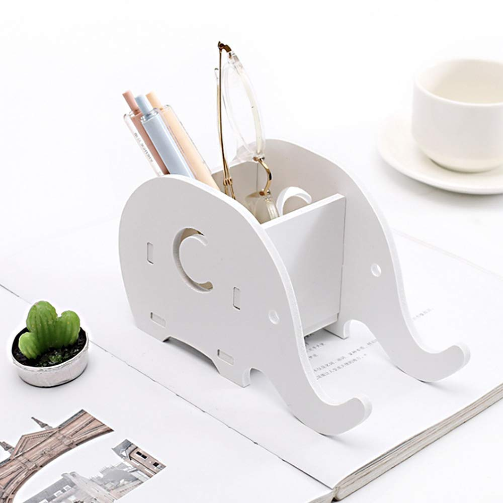 White CODIRATO Elephant Phone Stand Cute Elephant Pencil Holder with Phone Holder Desk Mobile Phone Bracket for Desk Home Office NA